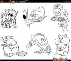 personaggi dei cartoni animati animali impostare la pagina del libro da colorare vettore