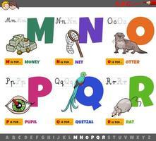 lettere dell'alfabeto per bambini dalla m alla r vettore