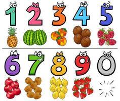 numeri di cartoni animati educativi con frutta vettore