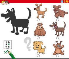 compito di ombre con simpatici personaggi di cani vettore