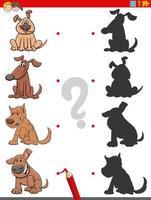 compito ombra con personaggi di cani divertenti vettore