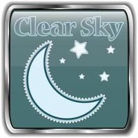icona del tempo notturno con testo chiaro cielo.