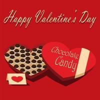 scatola di cioccolatini e biglietto di auguri di San Valentino vettore