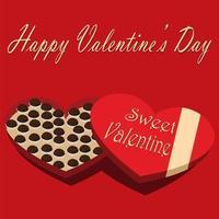 scatola di cioccolatini di San Valentino su sfondo rosso vettore