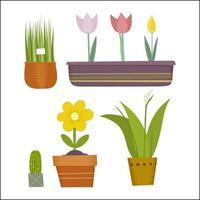 set di piante in vaso vettore