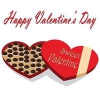scatola di cioccolatini di San Valentino su sfondo bianco vettore