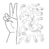 mani con vari gesti impostati vettore
