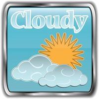 icona del tempo di giorno con testo nuvoloso vettore