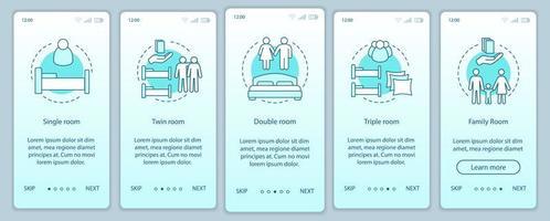 tipi di camere d'albergo onboarding schermata della pagina dell'app mobile vettore