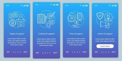 schermata della pagina dell'app mobile di onboarding della licenza sociale vettore