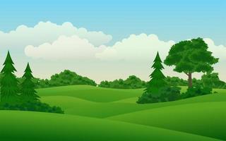 bellissimo paesaggio naturale verde vettore