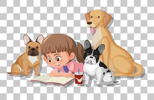 ragazza carina con i suoi cani isolati su sfondo trasparente vettore