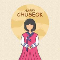 festival di chuseok di tiraggio della mano vettore