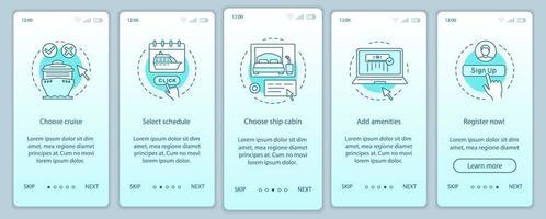 pagina dell'app mobile per la prenotazione di crociere online