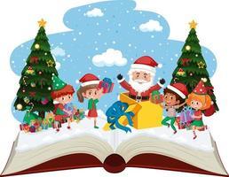 santa con molti bambini e regali il giorno di natale vettore
