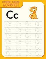 foglio di lavoro per tracciare l'alfabeto con la lettera ce c vettore