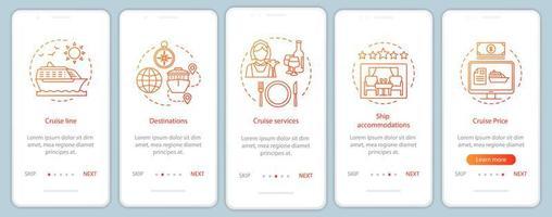 pagina dell'app per dispositivi mobili di onboarding con informazioni sulla crociera