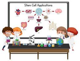 molti giovani scienziati spiegano l'applicazione delle cellule staminali davanti a una lavagna con elementi di laboratorio vettore
