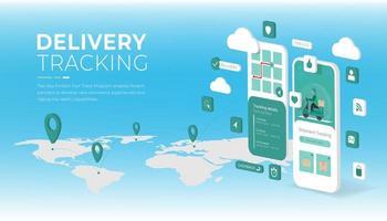 pagina di destinazione del servizio di consegna online vettore
