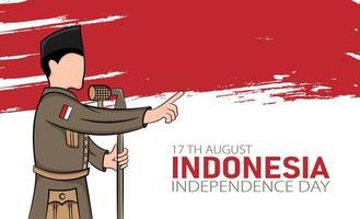 banner del giorno dell'indipendenza dell'indonesia vettore