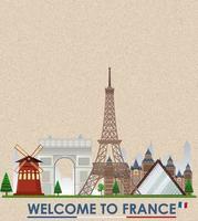 cartolina d'epoca vuota con punto di riferimento della torre eiffel della francia vettore