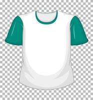 maglietta bianca vuota con maniche corte verdi su trasparente