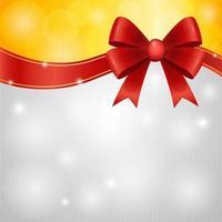 fiocco di nastro rosso con sfondo oro e argento incandescente vettore