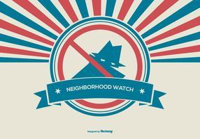 illustrazione di orologio di quartiere di stile rtetro vettore