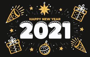 felice anno nuovo 2021 disegnato a mano vettore