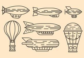 Icone dirigibili di vettore del dirigibile di Baloon dell'aria calda