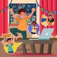 divertente celebrazione del nuovo anno con videochiamata