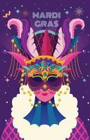 maschera mardi gras viola e rosa