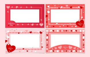 cuori rosa morbidi per cornici di San Valentino vettore