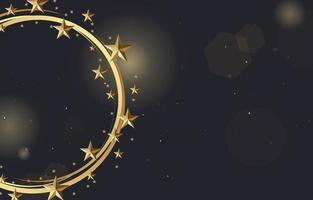 stelle d'oro che brillano intorno al cerchio vettore