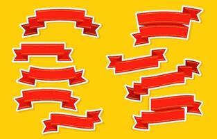 semplice raccolta di adesivi con nastro rosso vettore