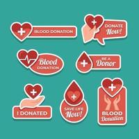 etichetta di sensibilizzazione sulla donazione di sangue vettore