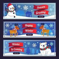 banner di cartoni animati di terra invernale vettore