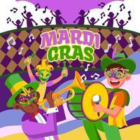 Mardi Gras musica e festività vettore