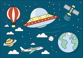 Icone e elementi dello spazio di vettore Design piatto gratuito