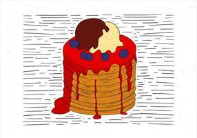 Illustrazione disegnata a mano libera del pancake di vettore
