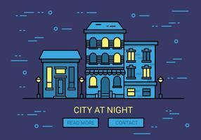 Priorità bassa di vettore di paesaggio urbano di notte lineare
