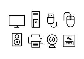 Set di icone di accessori per computer vettore