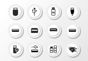 Vettore nero libero delle icone di USB