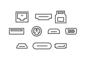 Vettore dell'icona della linea del porto del computer