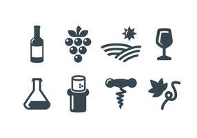 Icone vettoriali vino, vinificazione