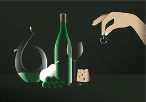 Illustrazione elegante di vettore del vino del decantatore sulla tavola