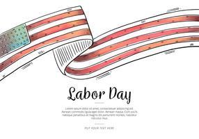 Vettore della bandiera di USA dell'illustrazione dell'acquerello di festa del lavoro