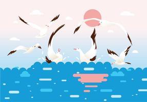 Stormo di vettore di uccelli Albatross