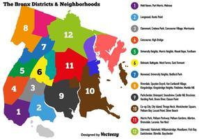 Vector Bronx Mappa colorata con distretto e vicini