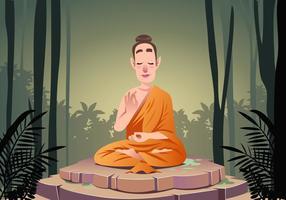 Buddha che prega scena vettoriale